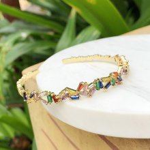 Colorful T Zircon Bangle  Free Size