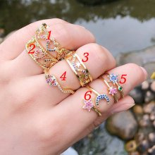 Colorful clear plain zircon ring , rainbow ring , Adjustable Ring. 6#.7#.8#.9#