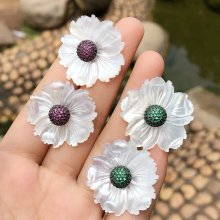 Nature Shell Flower Earring Zircon earring Separate Earring 30mm