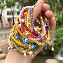 Crystal Bracelet Coloured glaze eye Accessories Colorful Bracelet Overall length 190mm