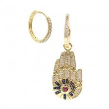 hand charms earring with pave zircon , charms hoops earring ,