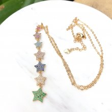 Star Pendant Colorful Stars Necklace Front Chain 40cm Tail Chain 6cm
