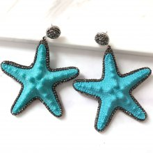 Nature Big  Five-pointed Star with hemaite Volcanic Earring