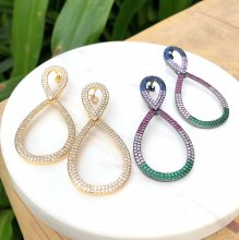 "Colorful Rainbow Earring ""8"" shape  White Clear Zircon Splayed Earring 26*56mm"