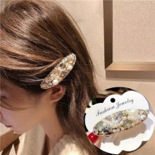 Metal drill color pearl droplet shape hairpin for ladies. white/blue hairpin 7*2.5cm
