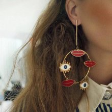 Bohemian Punk Large Round Eyes Lips Earrings for ladies.10*7cm