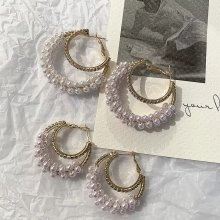 Retro double pearl water drill earrings for ladies