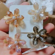 Colorful flower crystal hairpin for ladies.pink/champagne color/gray/pale pink.length 3.5cm