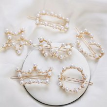 Handmade pearl heart shaped crown five pointed star geometric hairpin for ladies.white hairpin length 5 cm