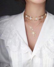 Multi-layer inlay drilling hollow out star clavicle chain for ladies.gold necklace  Short chain: 33cm Long Chain: 40cm