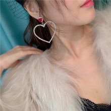 Peach Heart Water Drill Earrings for Ladies