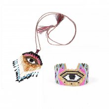 Miyuki Jewelry Bohemia Eye Sets Bracelet Tassel Necklace
