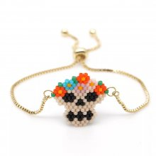 Miyuki Jeweley National Colorful Skull Bracelet Gold Chain