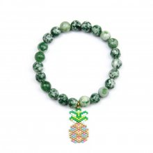 Miyuki Pineapple with Green Natural Stone Bracelet