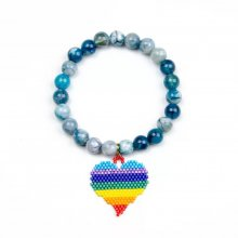 Miyuki Colorful Heart with Natural Stone Bracelet