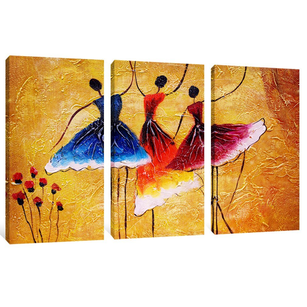 Canvas Prints 3 Panels Beautiful Ballet Dance Abstract Spain Dance ...