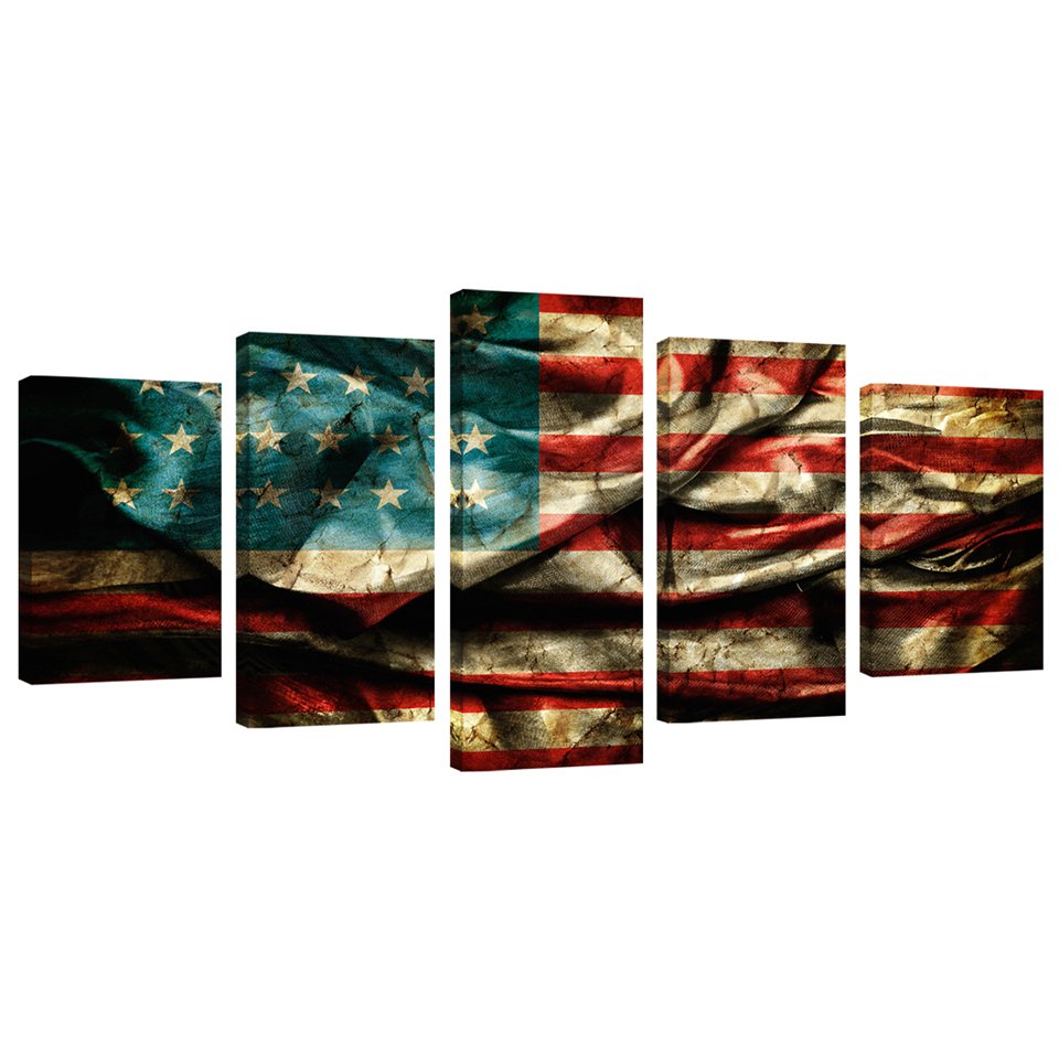 Retro American Flag Canvas Painting Print Wall Art Vintage Paintings Giclee Artwork For Living Room Decoration 5 Panels Stretched And Framed