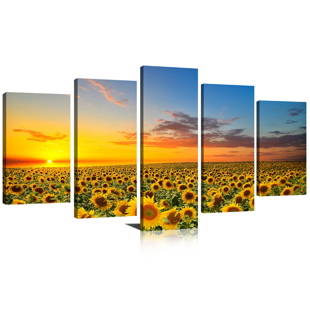 5 Panels Canvas Wall Art Landscape Painting Sunflower Picture ...