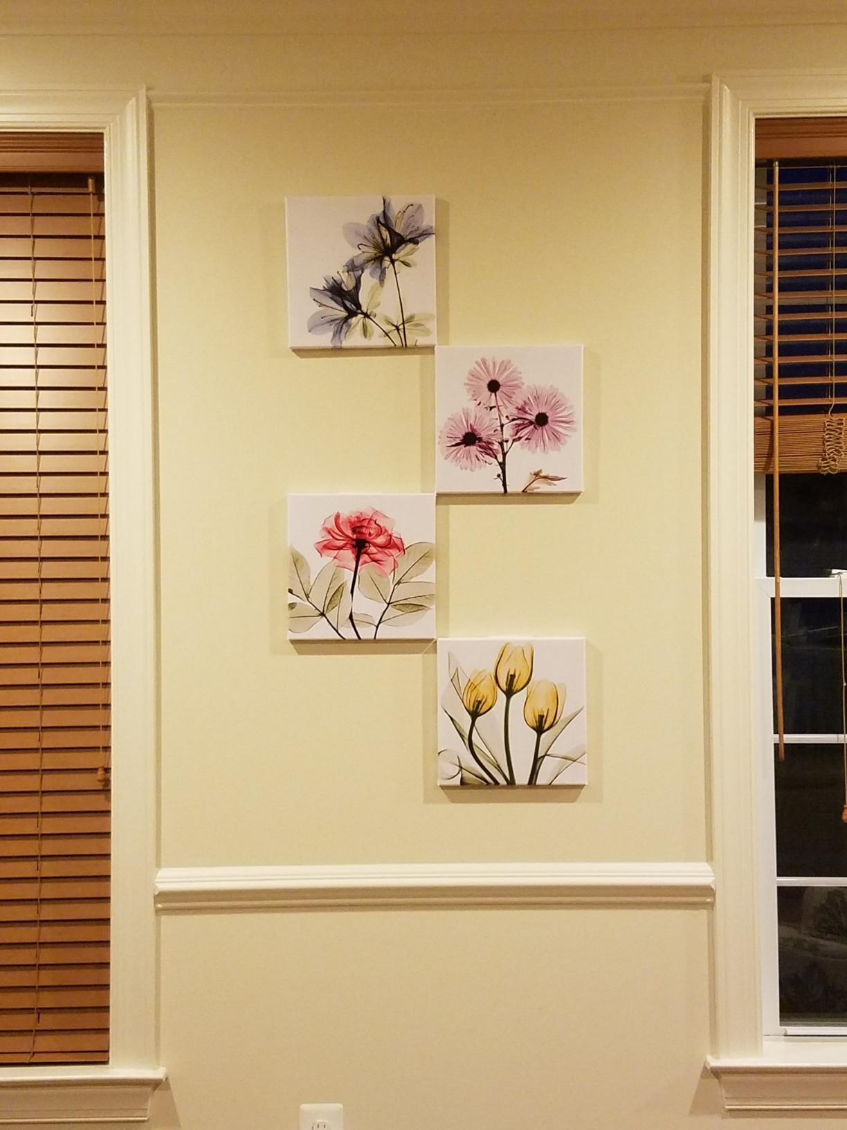 4 Panel Blue Elegant Tulip Flower Canvas Print Wall Art Painting For ...