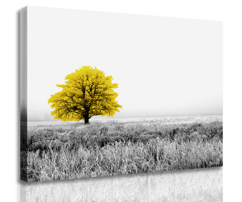 Black and White Landscape Canvas Wall Art yellow flower Wall Art Painting for Living Room Kitchen Wall Home Decor