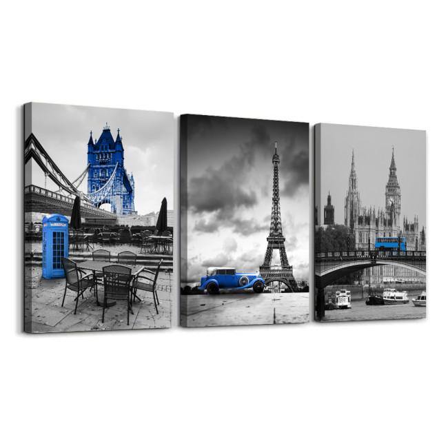 Blue Eiffel Tower Canvas Prints Car Mailbox Wall Art Paintings For Bedroom Bathroom Black White 3 Panels Framed Home Decor