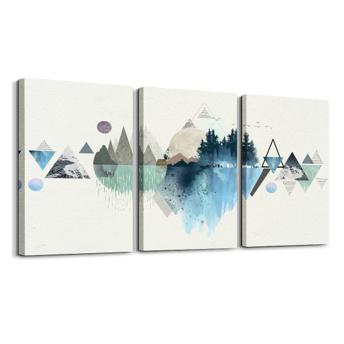 Abstract Canvas Wall Landscape Picture Modern Artwork Ready To Hang 12x16 Inch 3 Panels For Living Room Home Decoration