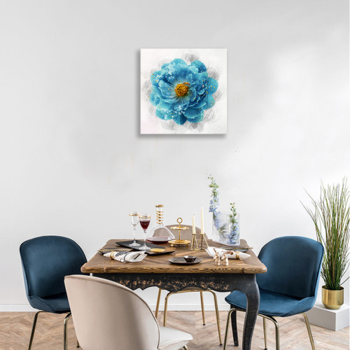 Floral Canvas Wall Art Painting Blue Elegant Flowers Pictures Ready to Hang for Bathroom Home Decor