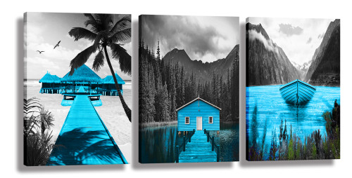 Canvas Wall Art Landscape Lake Painting Black and White Background Pictures Wall Art Blue Artwork for Bedroom living Room Decor 3 Pieces