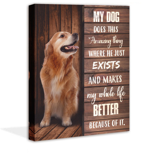 Dog Canvas Wall Art Pet Picture Inspirational Words Painting for Home Living Room Bedroom Bathroom Decorations