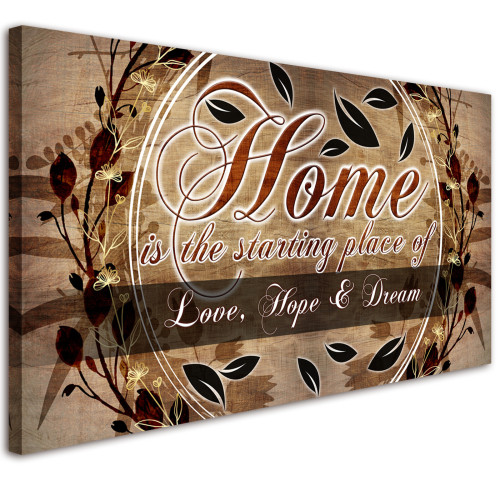 Vintage Pattern Wall Art Retro Home & Plant Flower Canvas Art Wall Pictures for Living Room Bedroom Decoration