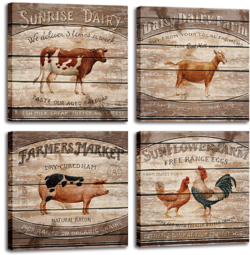 Animal & Farm Canvas Art Cattle Pig Chickens Pictures for Wall Retro Painting Wall Art for Wall Living Room Dining Room Decor