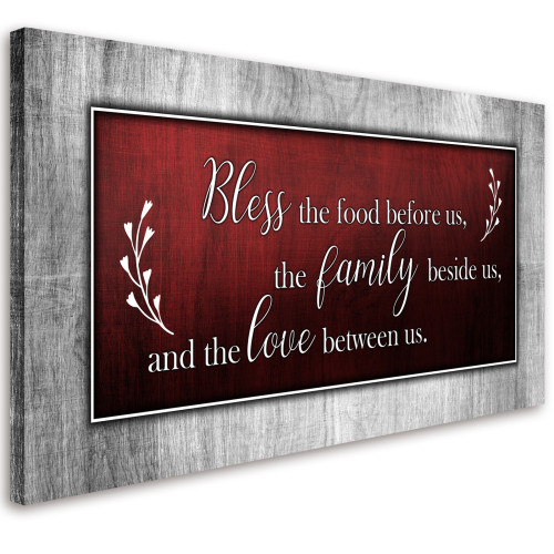 Bless This Food Quote Canvas Wall Art Red and Grey Framed Artwork Ready to Hang Home Decor