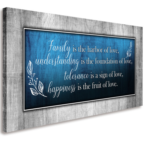 Love Quote Wall Art Blue and Grey Canvas Prints for Home Living Room Decorations