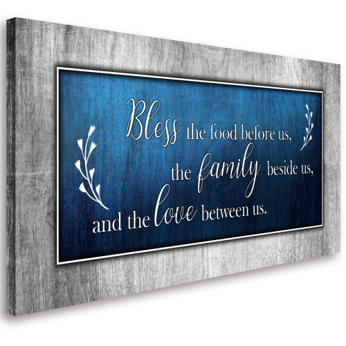 Bless This Food Quote Blue Wall Art Framed Artwork Ready to Hang Home Decor