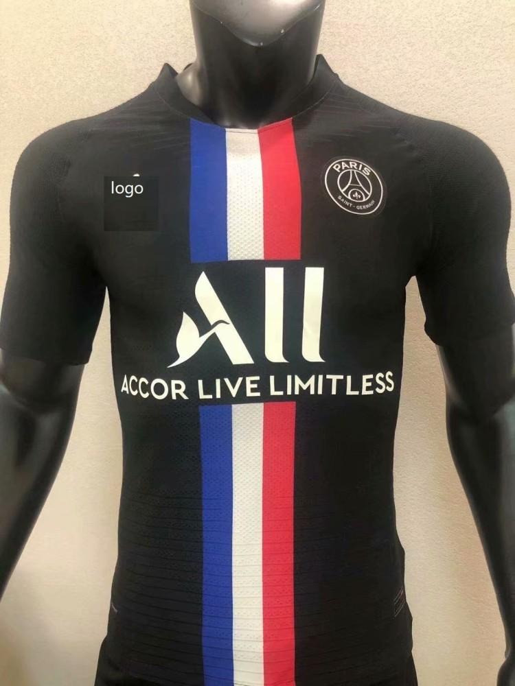 2020 21 Player Version Adult Psg 3rd Away Black Football Jersey Soccer Shirt