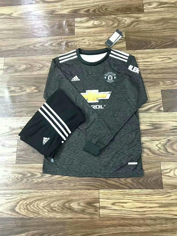 20/21 New Adult MUN Manchester united black Long Sleeve Soccer Jersey Winter Football Uniforms