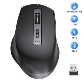 Three-Mode Rechargeable 2.4GHz Bluetooth  Wireless Mouse (BT4.0+BT4.0+2.4G)