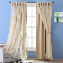NICETOWN Voile Meets Blackout Curtain Panel with Rod Pocket, 52 Inches Wide, 1 Panel