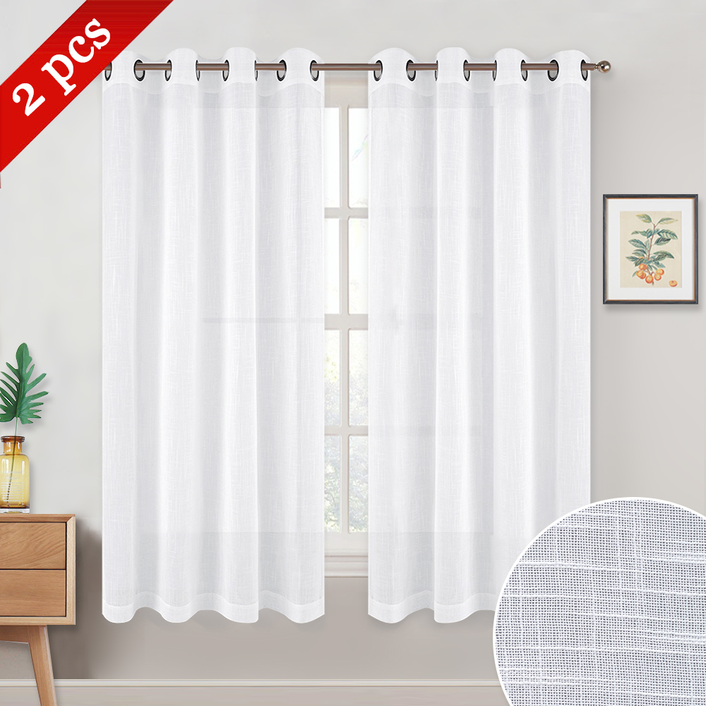 Nicetown Faux Linen Sheer Curtains Grommet Header Type 52 Inches Wide 2 Panels