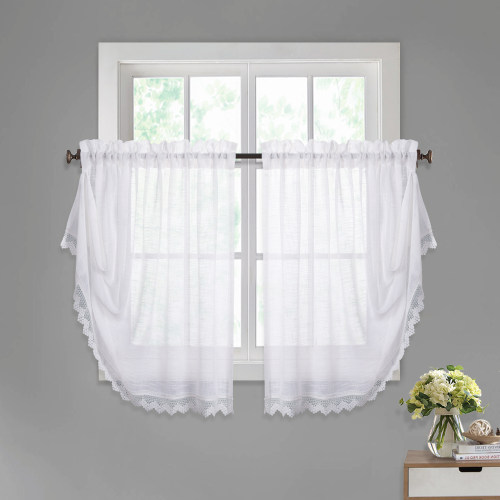 NICETOWN Verstile Faux Linen Sheer Valances - Innovative Magic Button to Make Rectangular or Waterfall Balloon Shape Multifunctional Curtains for Kitchen / Door decor, 52 Inch Wide, 2 Panels