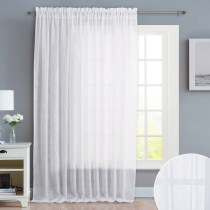 NICETOWN Rod Pocket Linen-like Patio Door Curtains, Semi Voile Drape Sheer Panels for Sliding Glass Door, W100 Inches, 1 panel