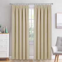 Window Curtains Beige Top Pencil Pleat Room Darkening Curtain Draperies for Bedroom Decorative Window Treatment Curtain Drape for Privacy Protected, 46 / 66 / 90 Inches Wide