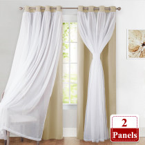 Window Blackout Curtains for Living Room - Curshed White Sheer Voile x Light Block Window Curtain Drapes Energy Efficient Mix & Match Home Decor, 52 Inches Wide