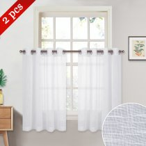 NICETOWN Grommet Top Faux Linen Sheer Valances, 52 Inches Wide, 2 Panels