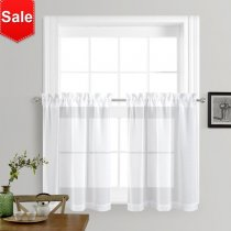 NICETOWN Rod Pocket Semi Doris Sheer Valances Linen Look Voile Tiers, 2 Panels, 55 Inches Wide