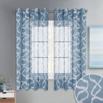 Grommet Top Geometric Bubble Pattern Printed Sheer Curtains Window Privacy Semitransparent for Bedroom,52 Inches Wide