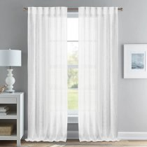NICETOWN Faux Linen Sheer Curtains Rod Pocket & Back Tab Header Type, 52 Inches Wide, 2 Panels