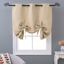 NICETOWNNICETOWN Thermal Insulated Curtain Grommet Top Tie Up Shade for Small Window, 46 Inches Wide, 1Pc