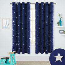 Silver Star Foil Printed Grommet Top Blackout Curtains for Child, 52 Inch Wide, Sold as 2 Panels