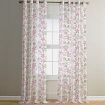 NICETOWN Birds Printed Sheer Curtains, Faux Linen Grommet Voile Draperis for Bedroom, Set of 2,52 Inch Wide